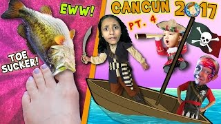 Download TOE SUCKING FISHES! Squishy Tickle Feet w/ PIRATES! (FUNnel Vision Cancun Mexico Travel Vlog Part 4) Video