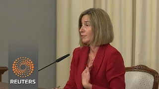Download EU's Mogherini says glad to see EU, French flags together after first election round Video