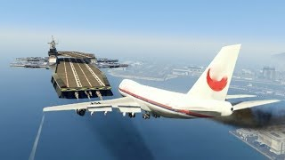 Download Massive Air Plane ″Emergency Landing″ at helicarrier(MARVEL) (GTA 5 Amazing and funny Moments) Video