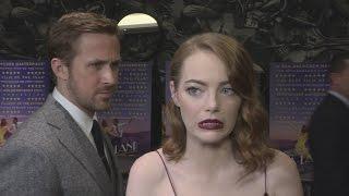 Download La La Land gala: Ryan Gosling creeps up on Emma Stone! Video