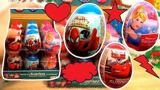 Download Cars Spiderman Princess 18 Kinder Surprise Eggs Video