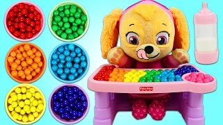 Download PAW PATROL Feeding Baby Skye Rainbow Gumballs Learning Colors Video for Children! Video