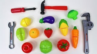 Download Learn colors names of fruits vegetables toy velcro cutting food tools esl Video