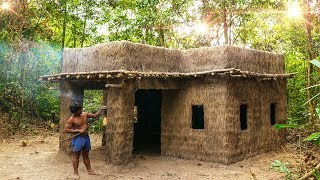 Download Clever Bushman Building King Mansion Modern Architecture Out Of Mud and Straw, Grass Video