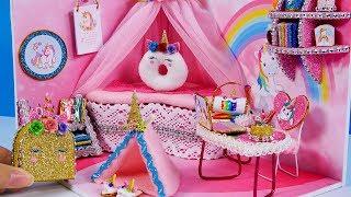 Download DIY Miniatures Dollhouse Room ~ Unicorn Room Decor , Backpack #32 Video