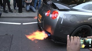 Download 5X LOUD Nissan GTR's - Flames & Loud Exhaust Sounds!! Video