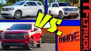 Download GM vs Ford vs Dodge! Here's How The 2021 Chevy Suburban & Tahoe Compare To The Expedition & Durango Video