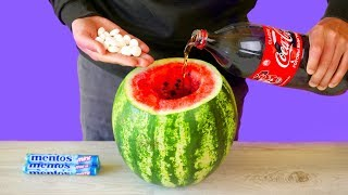 Download WATERMELON VS COCA COLA VS MENTOS! 7 AMAZING LIFE HACKS AND EXPERIMENTS! Video
