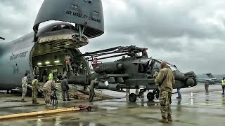 Download Apache Helicopters Offload From C-5M Super Galaxy In Germany Video
