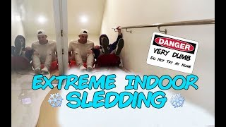 Download EXTREME INDOOR SLEDDING *almost died/cried* Video
