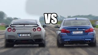 Download BMW M5 F10 vs Nissan GTR R35 - DRAG RACE Video