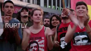 Download Argentina: Buenos Aires youth commemorate revolutionary leader Fidel Castro Video