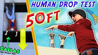 Download HUMAN DROP TEST! 50+ Feet Down w/ DALLAS the Pizza Guy! + DIY iPod Case Experiment (FUNnel Vision) Video
