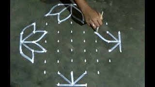 Flowers And Parrots Kolam With 13 1 Straight Chukkala Muggulu With