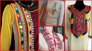 Download Beautiful Neck Designs with embroidery | #Neck designs#Mirror work#For kurtas#kurtis Video