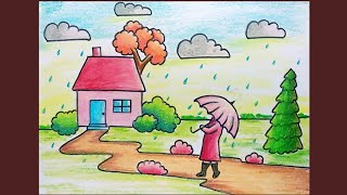 Download Rainy Season Scenery Drawing for Beginner | Simple Oil Pastel Drawing of Rainy Day Video