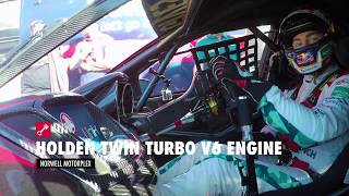 Download Craig Lowndes drives the Holden V6 Twin Turbo Supercar engine at full noise Video