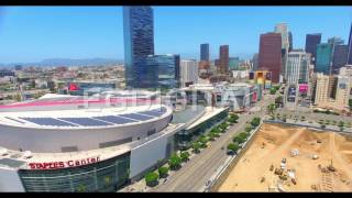 Download Aerial Drone Video - Los Angeles skyline and construction sites Video