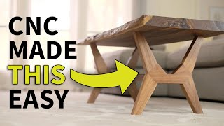 Download CNC Flat Pack, Live Edge, Mid Century Modern Coffee Table | Woodworking how to Video