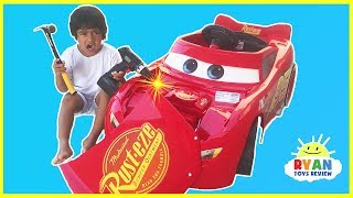 Download Disney Cars 3 Lightning McQueen Battery Powered Power Wheels Ride on Car Kids Unboxing & Test Drive Video