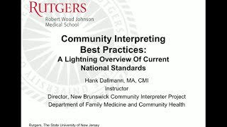 Download Community Interpreting, Best Practices: A Lightning Overview of Current National Standards Video