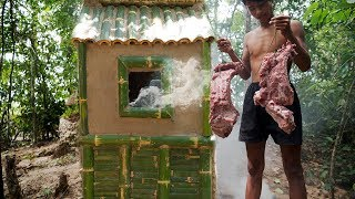 Download Building mud smokehouse and smoked meat in forest Video