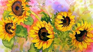 Download Sunflowers in Watercolor! Real Time Tutorial Video