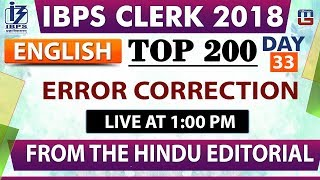 Download Top 200 | Error Correction | IBPS Clerk 2018 | English | Day 33 | 1:00 pm Video