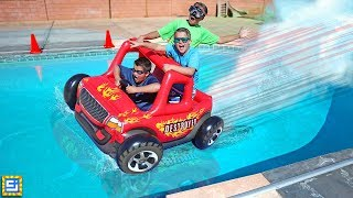 Download Giant Floating Inflatable RC Car Swimming Pool Adventure! Video