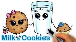 Download How to Draw Cartoon Milk and Chocolate Chip Cookies Cute and easy Video