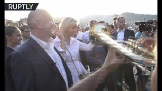 Download Russian FM spokesperson moves to the grooves of Brass Band Festival in Serbia Video
