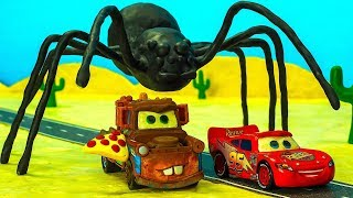 Download UFO Mater Finds PIZZA & SPIDER Lightning McQueen becomes a Giant Cars Stop Motion Animation Cartoon Video