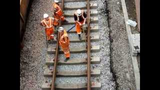 Download Engineering Work at Newton Aycliffe Lowering and Re-laying Track under bridge 21/07/13 Video