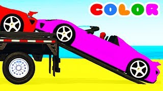 Download COLOR CARS Transportation & Spiderman Cartoon for kids w Bus Superheroes for babies children! Video