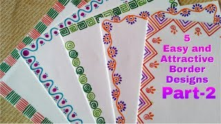 Download 5 Easy and Attractive border designs for greeting cards Part-2 | DIY border designs for Children | Video