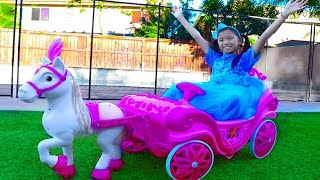 Download Wendy Pretend Play w/ Princess Ride On Horse Carriage & Dress Up Kids Toy Video