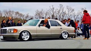 Download 【爆音大会】 MercedesBenz 126 @Track and show2016 車高短 シャコタン 直管 Lowered exhaust Low car Video