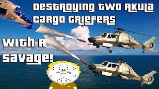 Download GTA Online Destroying Two Akula Cargo Griefers With A Savage Video