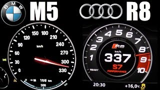 Download ★ Audi R8 V10 Plus (610hp) vs BMW M5 F10 (560hp) 0-330 km/h Acceleration Top Speed Video