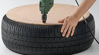 Download Man Drills A Hole In A Tire And Creates The Coolest Thing We've Seen In A Long Time Video