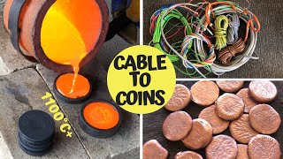 Download Trash To Treasure - Cable To Coins - Pouring Copper Coins From Scrap Video