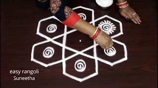 Download 7 dots creative & beautiful Friday rangoli kolam || Friday muggulu designs Video