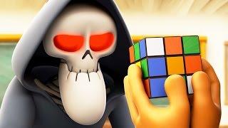 Download Funny Animated Cartoon   Spookiz Skeleton Teacher Completes Rubiks Cube 스푸키즈   Cartoon for Children Video