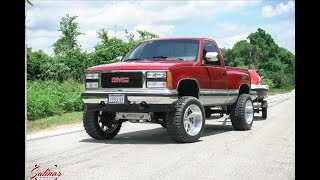 Download Oldie but Goodie! 1990 GMC Sierra OBS Single cab lifted on 20x12 Intro wheels! Video