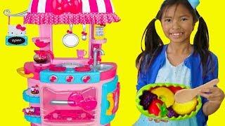 Download Wendy Pretend Play w/ Hello Kitty Kitchen &Tea Party Kids Food Toys Video