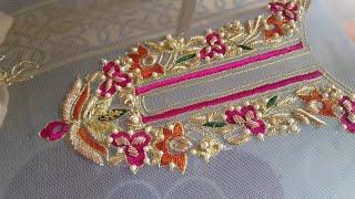 Download Hand embroidery: zardosi work/ resham /tila/ pearls wedding dress part 1 Video