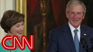 Download Bush's humorous return to White House Video