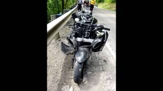 Download SHOCKING MOTORCYCLE CRASH WITH AFTERMATH RIDER FREEZES UP DURING CURVE Video