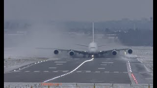 Download Airbus A380 Extreme weather crosswind landing and takeoff Lots of Snow spray Video