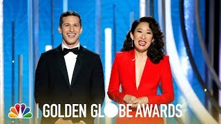 Download Sandra Oh and Andy Samberg Monologue - 2019 Golden Globes (Highlight) Video